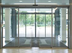 Automatic glass doors located in London