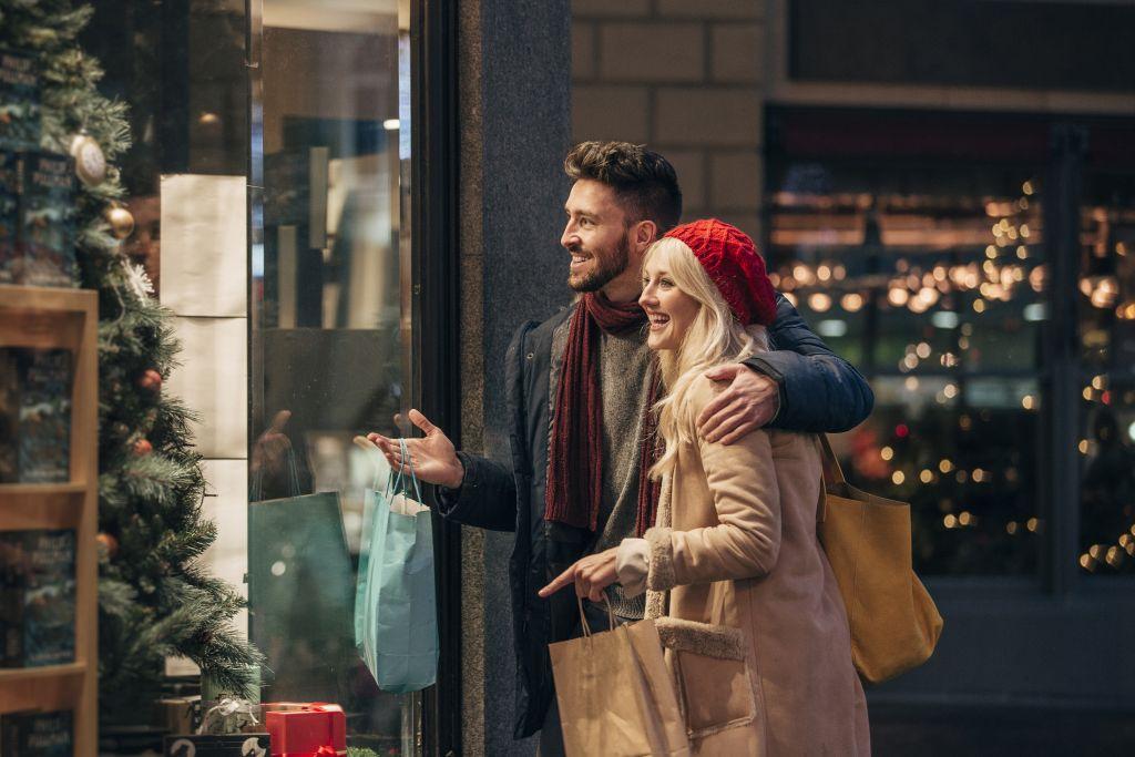 A Couple Enjoying a Window Display
