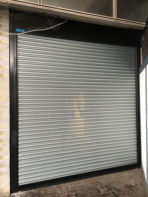 Steel Roller Shutter-Black Steelwork-Galvanised Curtain