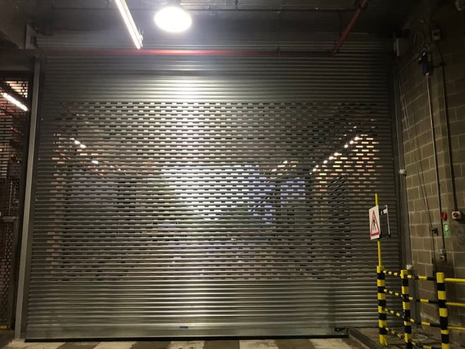 Steel Roller Shutter-Solid-Punched-Brickbond-Galvanised