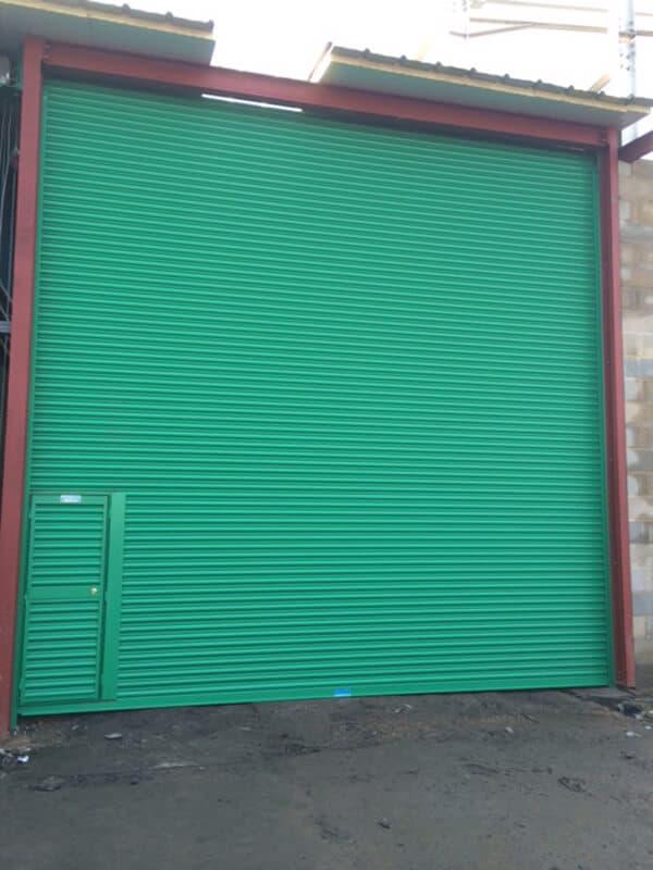 Steel Roller Shutter-Solid with Wicket Door-Green