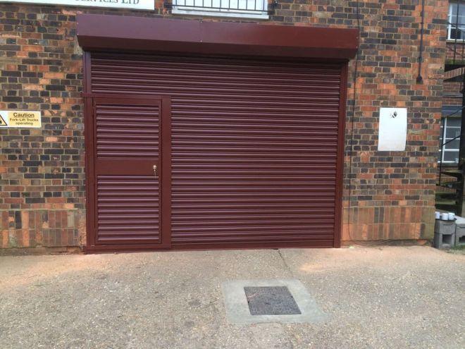 Steel Roller Shutter with Wicket Door-Burgundy