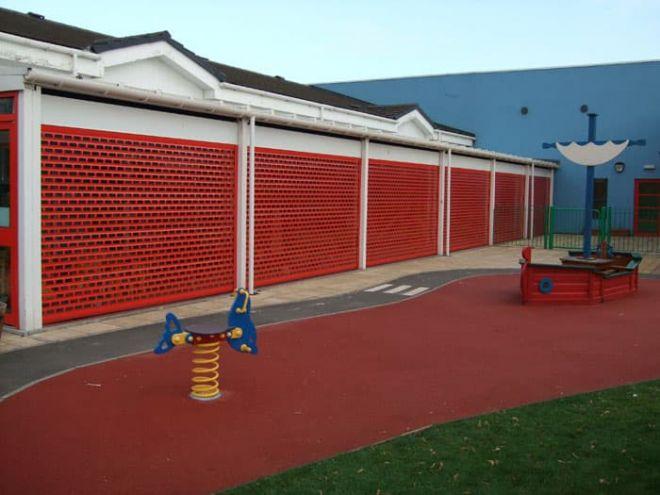 Aluminium Roller Shutter-Punched-Brickbond-Red Curtain