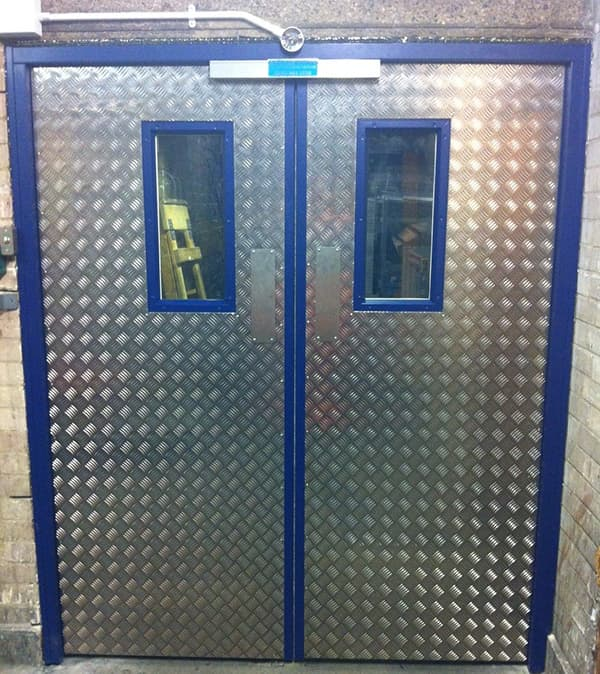Steel Door Set-Double-Full Chequer Plate-Vision Panel-Inside