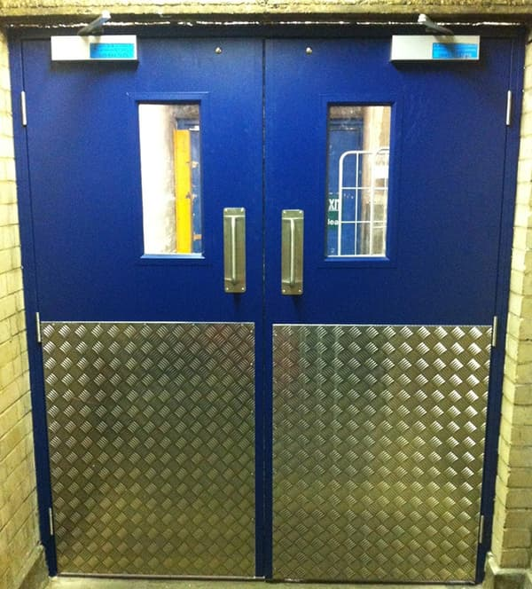 Steel Door Set-Double-Half Chequer Plate-Vision Panel-Outside